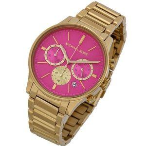 Michael Kors MK Runway Watch Pink Dial Gold Tone